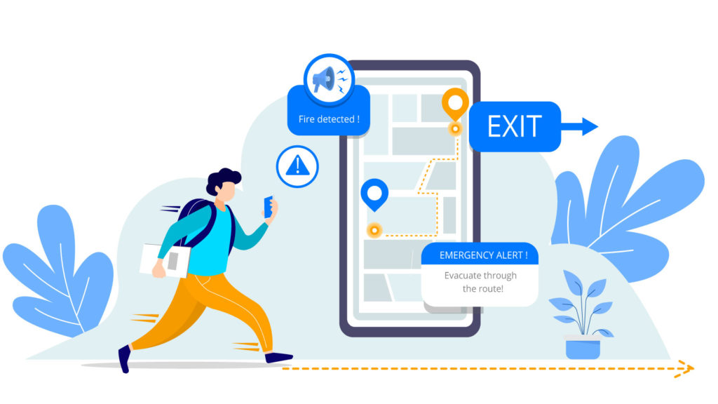 emergency exit navigation for universities